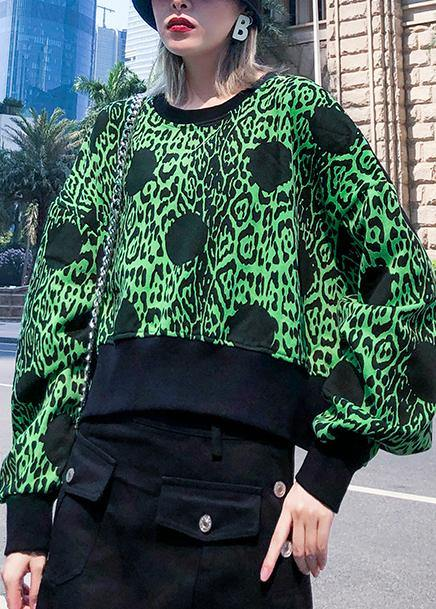 Chic green prints cotton clothes long sleeve o neck shirts