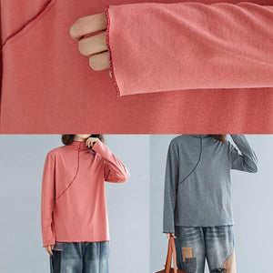 Chic high neck cotton tunics for women Cotton pink shirt