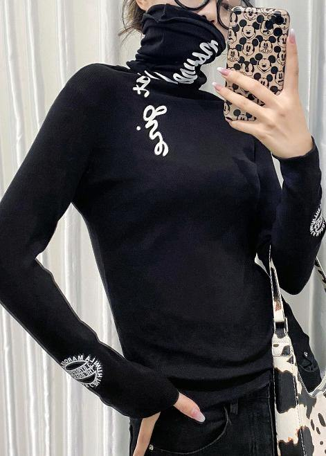 Chic high neck tops women black Letter silhouette tops