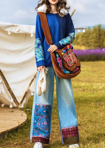 Chic high waist pant oversize denim blue Cotton embroidery pant