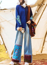 Load image into Gallery viewer, Chic high waist pant oversize denim blue Cotton embroidery pant