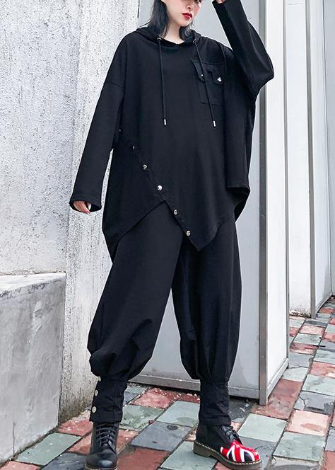 Chic hooded asymmetric cotton tunic Fabrics black blouse