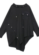 Load image into Gallery viewer, Chic hooded asymmetric cotton tunic Fabrics black blouse