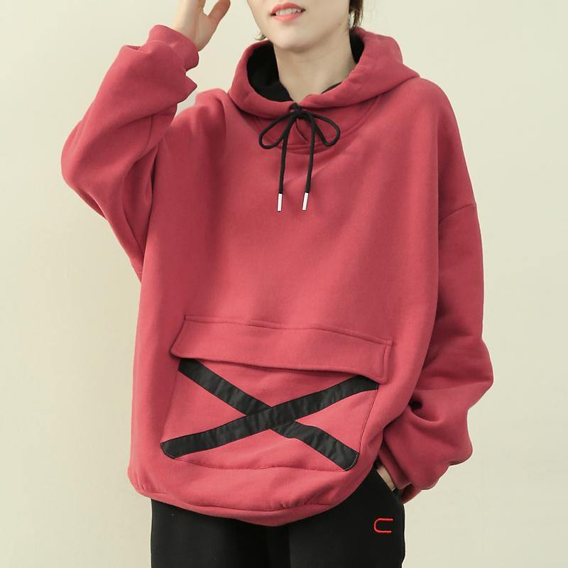 Chic hooded drawstring clothes pink tunic shirt