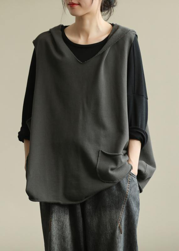 Chic hooded sleeveless tops women Work gray blouse