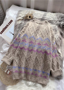 Chic khaki striped  Sweater Wardrobes Design o neck baggy knitted dress