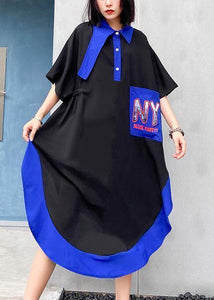 Chic lapel asymmetric cotton summer dresses pattern black cotton Dress