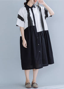 Chic lapel patchwork linen dresses Neckline black striped Dress summer