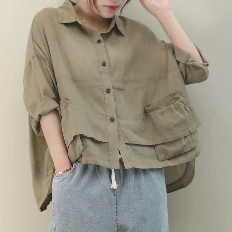 Chic lapel pockets linen shirts women Christmas Gifts khaki blouse