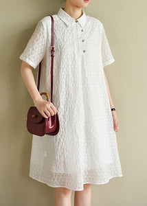 Chic lapel summer quilting dresses Inspiration white dotted Dress