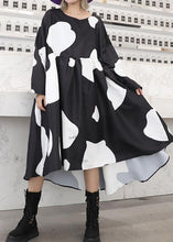 Load image into Gallery viewer, Chic low high design cotton high waist Tunics Sleeve black cotton robes Dresses