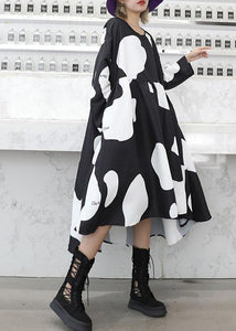 Chic low high design cotton high waist Tunics Sleeve black cotton robes Dresses