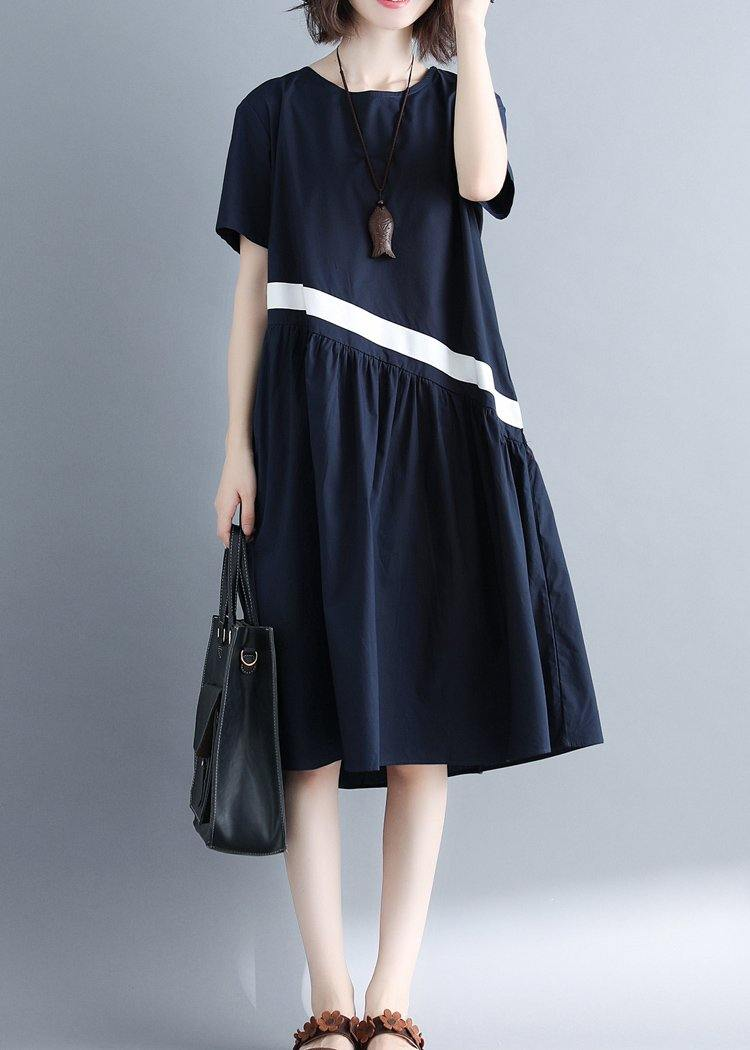 Chic navy cotton clothes For Women patchwork loose summer Dress