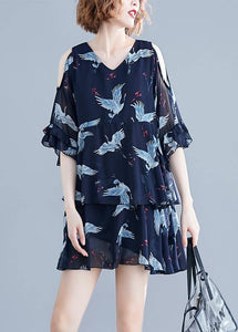 Chic navy print chiffon dresses Vintage Outfits v neck Ruffles Summer Dresses