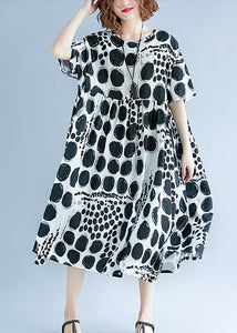 Chic o neck exra large hem cotton linen clothes For Women Runway black dotted Art Dress Summer