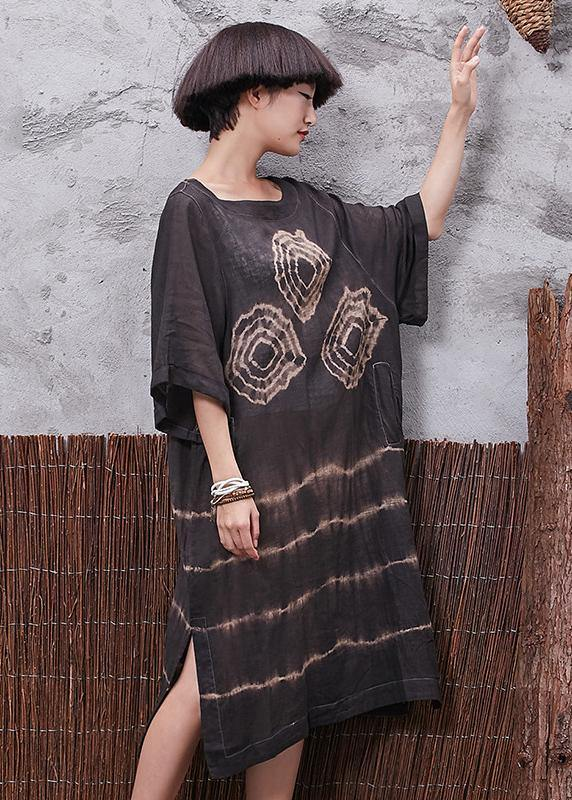 Chic o neck linen cotton clothes For Women Sleeve brown side open Dresses summer