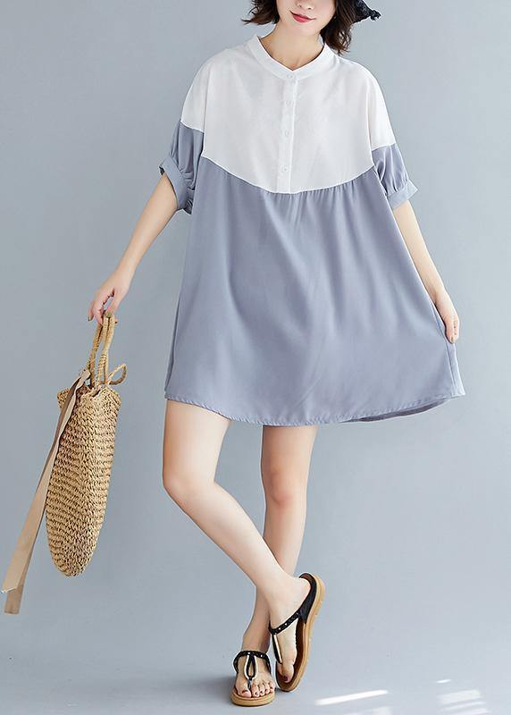 Chic o neck patchwork chiffon dresses Indian Fashion Ideas gray blue Dress Summer