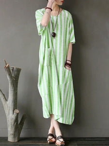 Chic o neck patchwork cotton dresses Tutorials green striped Traveling Dresses