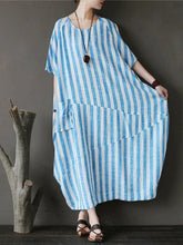 Load image into Gallery viewer, Chic o neck patchwork cotton dresses Tutorials green striped Traveling Dresses