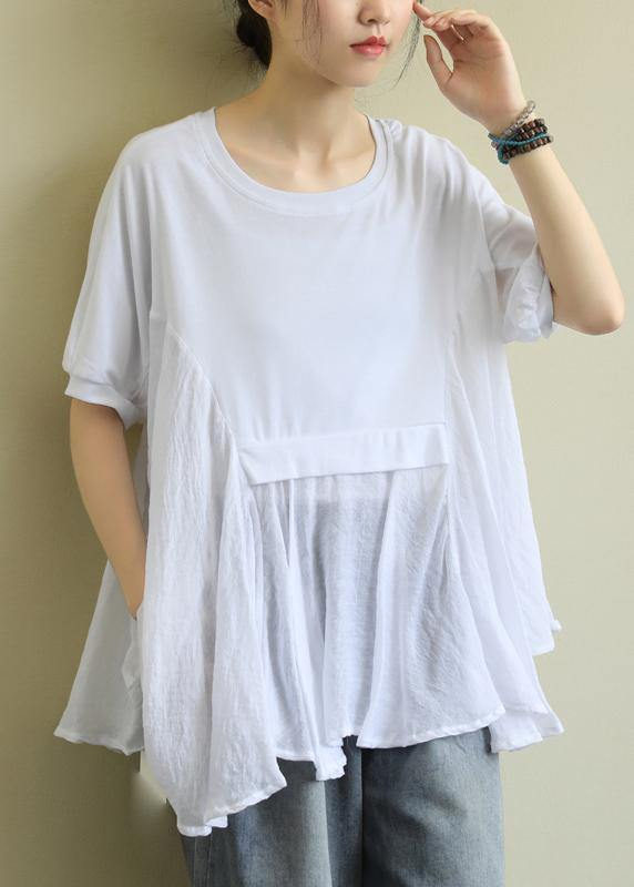 Chic o neck patchwork cotton summerLong Shirts Fabrics white tops