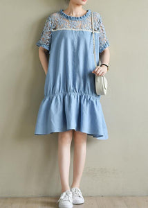 Chic o neck patchwork lace summer dress light blue Dresses