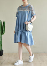 Load image into Gallery viewer, Chic o neck patchwork lace summer dress light blue Dresses