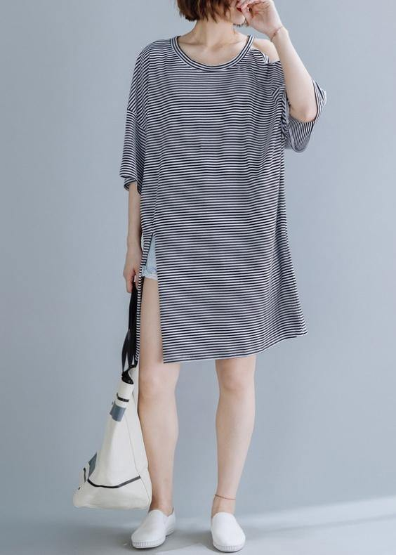 Chic o neck side open Cotton tunic dressSewing black striped Dress
