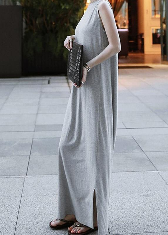 Chic o neck sleeveless cotton quilting dresses Runway gray cotton robes Dresses