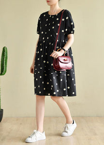 Chic o neck Cinched clothes black daisy print Dresses