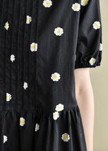 Load image into Gallery viewer, Chic o neck Cinched clothes black daisy print Dresses