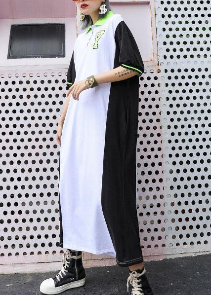 f4b7765c55 Chic patchwork cotton outfit POLO Collar Robe summer Dresses