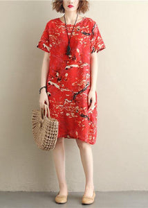 Chic prints red Cotton clothes short sleeve Vestidos De Lino summer Dresses
