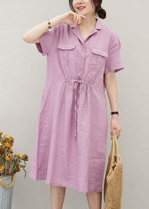 Chic purple linen clothes For Women drawstring Notched cotton summer Dress