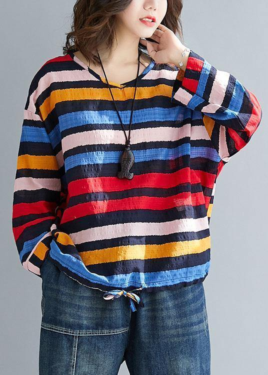 Chic rainbow cotton clothes drawstring Vestidos De Lino tops