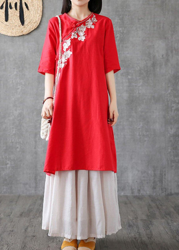 Chic red cotton dresses embroidery Chinese Button short  Dress