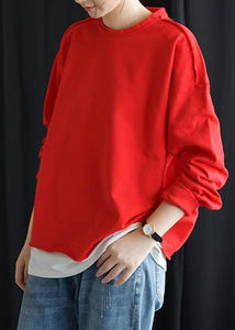 Chic red cotton shirts o neck false two pieces fall tops