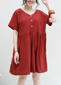 Chic red summer chiffon dresses v neck Plus Size two ways to wear Dress