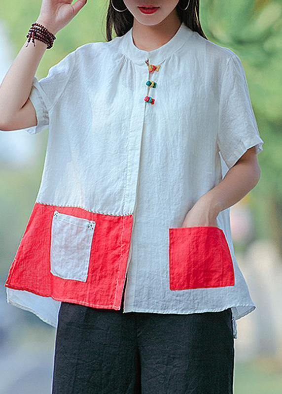 Chic shirts women Plus Size Cotton Literary White Summer Cardigan Short Sleeve Shirt