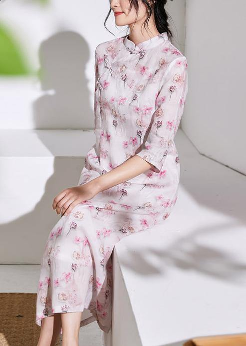 Chic stand collar Chinese Button linen clothes For Women design light pink Dresses