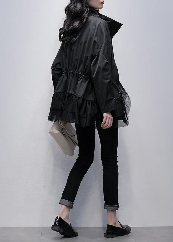 Chic stand collar Fashion coats black patchwork tulle short jackets
