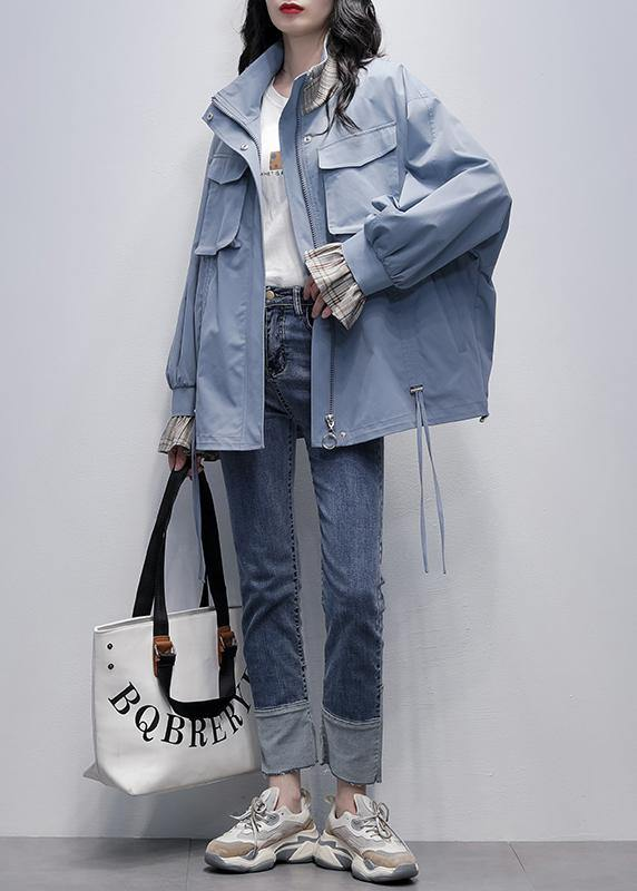 Chic stand collar flare sleeve  clothes blue baggy women coats