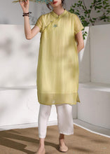 Load image into Gallery viewer, Chic stand collar summer Outfits yellow embroidery Dress