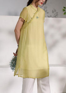 Chic stand collar summer Outfits yellow embroidery Dress