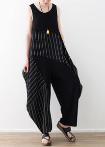 Chic trousers oversized black striped Wardrobes sleeveless asymmetric jumpsuit pants