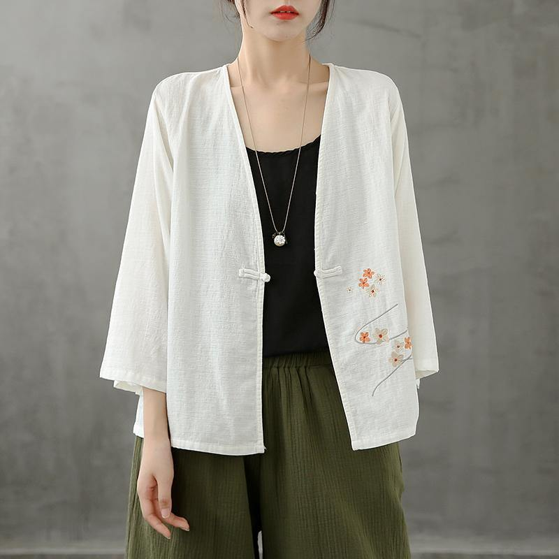 Chic v neck Chinese Button crane tops pattern white shirts