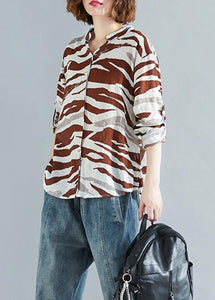 Chic v neck asymmetric linen clothes For Women chocolate striped cotton shirt