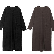 Load image into Gallery viewer, Chic v neck patchwork cotton clothes Sleeve chocolate Dresses