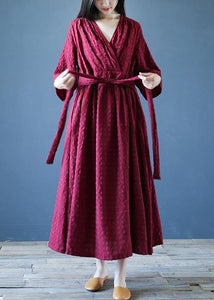 Chic v neck tie waist linen clothes For Women Runway burgundy Dress