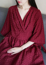 Load image into Gallery viewer, Chic v neck tie waist linen clothes For Women Runway burgundy Dress