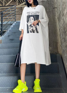 Chic white Letter tunics for women o neck side open A Line summer Dresses